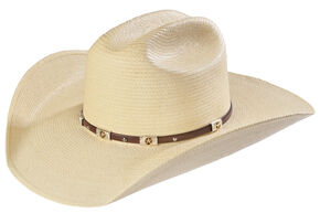 Larry Mahan Alamo Palm Star Concho Straw Cowboy Hat, Natural, hi-res