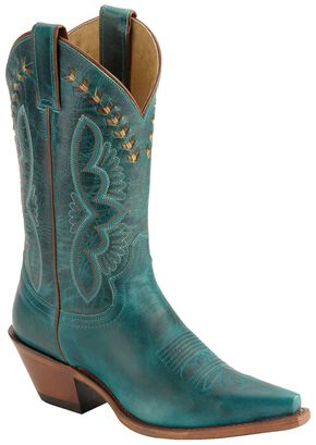 Justin Leather Laced Turquoise-Hue Torino Cowgirl Boots - Snip Toe, Turquoise, hi-res