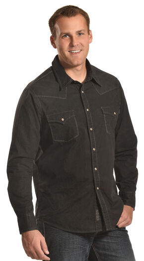 Rock and Roll Cowboy Men's Black Western Snap Shirt, Black, hi-res