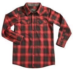 Cody James Boys' Red Sky Plaid Long Sleeve Shirt, , hi-res