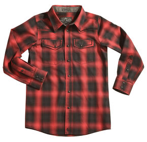 Cody James Boys' Red Sky Plaid Long Sleeve Shirt, Red, hi-res