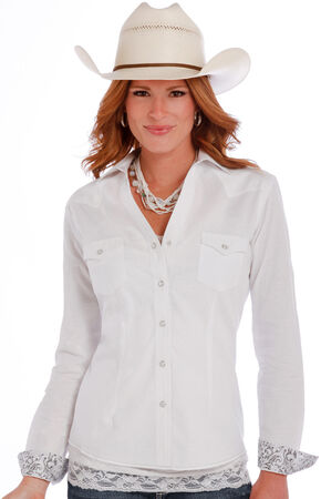 Panhandle Slim White Rough Stock Grivola Vintage Jacquard Shirt, White, hi-res