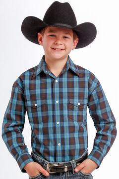 Rough Stock by Panhandle Slim Boys' Teal and Black Plaid Western Shirt , , hi-res