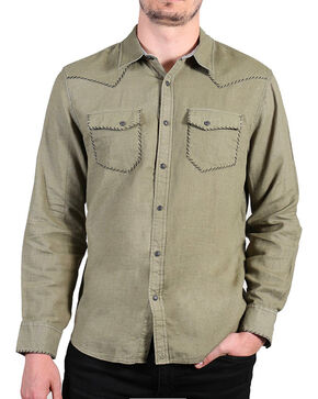 Cody James Men's Olive Dartmoor Western Long Sleeve Shirt , Olive, hi-res