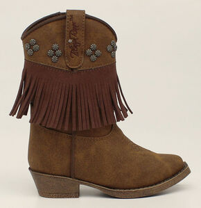 Blazin Roxx Toddler Girls' Annabelle Fringe Zip Cowgirl Boots - Snip Toe, Brown, hi-res