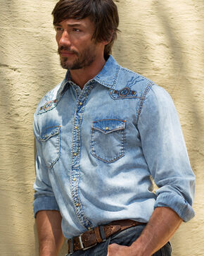 Ryan Michael Men's Indigo Sun Washed Embroidered Denim Shirt, Indigo, hi-res