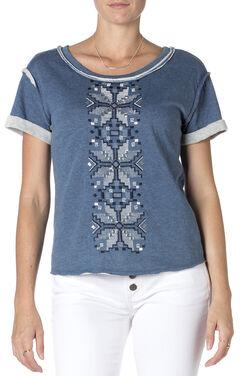 Miss Me Blue Embroidered Short Sleeve Shirt , , hi-res
