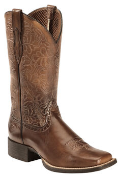 Ariat Rich Brown Round Up Remuda Cowgirl Boots - Square Toe , , hi-res