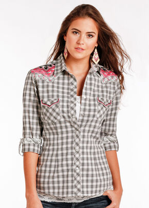 Rough Stock by Panhandle Women's Addison Vintage Shirt - Plus Size , Black, hi-res
