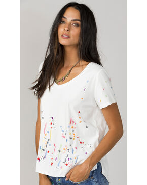 Miss Me Women's White Paint Splatter Short Sleeve Top, White, hi-res
