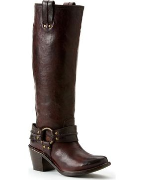 Frye Women's Carmen Harness Tall Boots - Round Toe, Dark Brown, hi-res