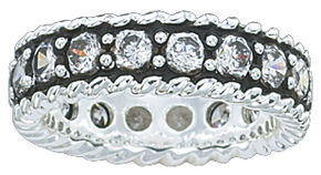 Montana Silversmiths Women's Crystal Shine Band Ring, Silver, hi-res