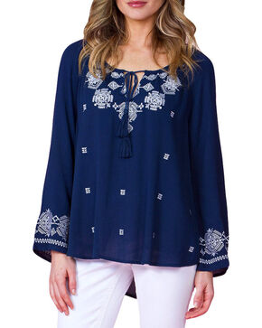 Miss Me Women's Navy Long Sleeve Peasant Top, Navy, hi-res