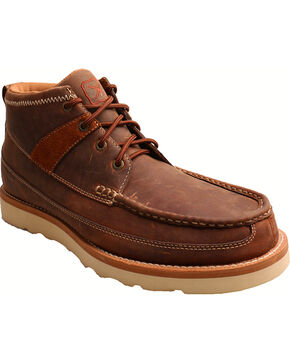 Twisted X Men's Brown Lace-Up Driving Shoes - Steel Toe  , Brown, hi-res
