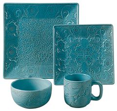 HiEnd Accents Savannah Turquoise Dinnerware Set, , hi-res