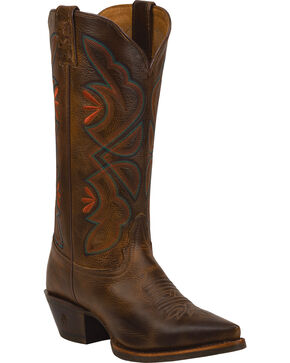 Tony Lama Saddle Rio 3R Western Cowgirl Boots - Snip Toe , Brown, hi-res