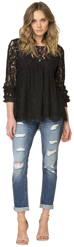 Miss Me Black Lace Tie Back Top , Black, hi-res