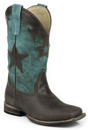 Roper Boys' Star Cowboy Boots - Square Toe, Dark Brown, hi-res