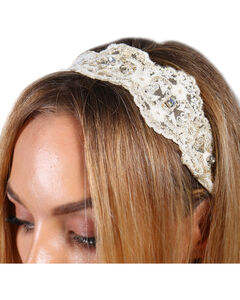 Shyanne® Women's Lace and Pearls Crochet Headband, Cream, hi-res