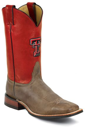Nocona Men's Texas Tech College Boots - Square Toe, Tan, hi-res