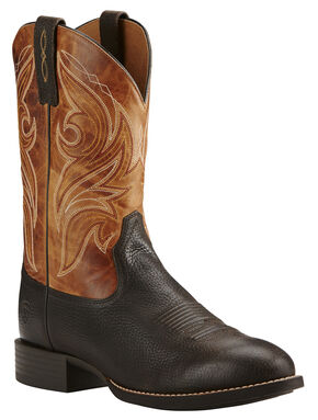 Ariat Heritage Cowpuncher Iron Cowboy Boots - Round Toe, Coffee, hi-res