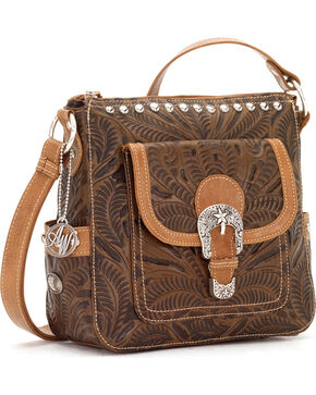 American West Annie's Secret Collection Concealed Carry Crossbody Bag, Brown, hi-res