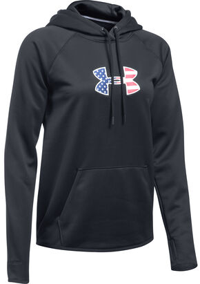 Under Armour Women's Black Big Flag Logo Tactical Hoodie, Black, hi-res