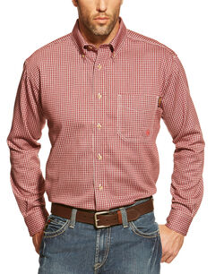 Ariat Flame Resistant Wine Plaid Work Shirt, , hi-res