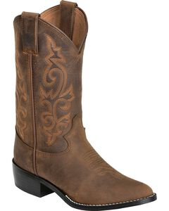 Justin Boys' Basic Western Boots - Round Toe, , hi-res