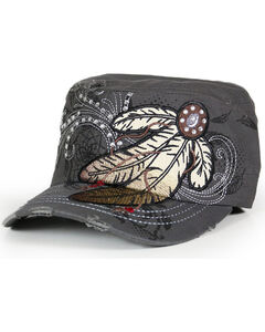 Savana Women's Feather Embroidery and Rhinestones Military Hat , , hi-res