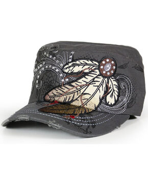 Savana Women's Feather Embroidery and Rhinestones Military Hat , Grey, hi-res