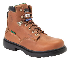 "Georgia Boots Flexpoint Waterproof 6"" Lace-Up Work Boots - Steel Toe, Briar, hi-res"
