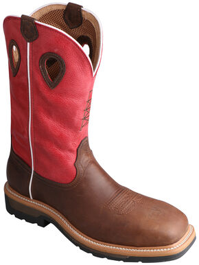 Twisted X Lite Cowboy Red Work Cowboy Boots - Steel Toe  , Distressed, hi-res