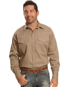 Crazy Cowboy Men's Beige Western Work Shirt - Big & Tall, , hi-res