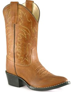 Old West Youth Boys' Calfskin Cowboy Boots - Pointed Toe, , hi-res