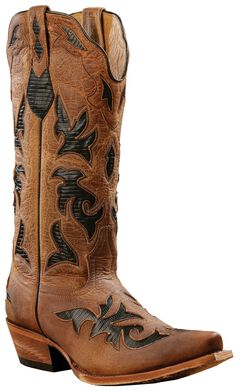 Johnny Ringo Black Lizard Print Inlay Cowgirl Boots - Snip Toe, , hi-res