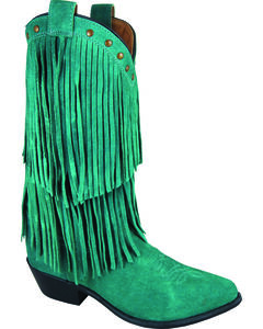 Smoky Mountain Wisteria Teal Fringe Short Boots - Pointed Toe, , hi-res