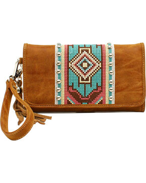 Blazin Roxx Shania Collection Aztec Ribbon Clutch, Tan, hi-res