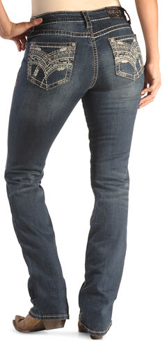 Grace in LA Women's Easy Fit Scroll Stitch Jeans - Bootcut , , hi-res