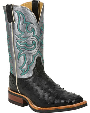 Justin Full Quill Ostrich Atomic Mercury Cowboy Boots - Square Toe, Black, hi-res