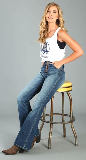Wrangler Women's Five Button High Waisted Flare Leg Jeans , Indigo, hi-res