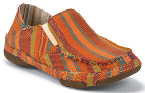 Tony Lama Women's Orange Striped 3R Casuals Canvas Shoes - Moc Toe , Stripe, hi-res
