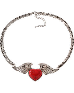 Wrangler Rock 47 Tattoo Art Red Stone Heart on Wings Necklace, , hi-res