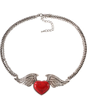 Wrangler Rock 47 Tattoo Art Red Stone Heart on Wings Necklace, Silver, hi-res