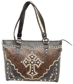 Blazin Roxx Cross Overlay Tooled Tote Bag, Black, hi-res