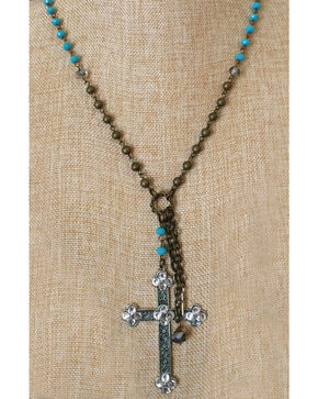 2 Queen B's Vegas Gal Tri-color Necklace with Swarovksi Cross, Blue Multi, hi-res