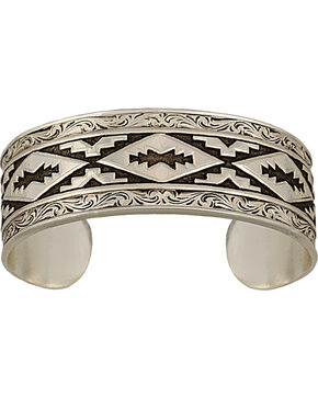 Montana Silversmiths Antiqued Aztec Steps Pattern Cuff Bracelet, Silver, hi-res