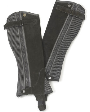 Ovation Women's Ribbed Suede Half Chaps, Black, hi-res