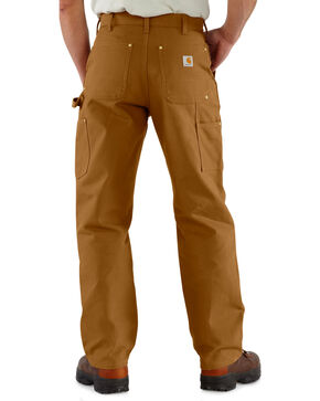 Carhartt Double Front Duck Utility Dungaree Work Pants - Big & Tall, Brown, hi-res