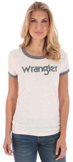 Wrangler Women's White and Blue Ringer T-Shirt , , hi-res